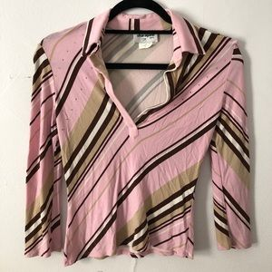 Pink & Brown Striped Sharagano Blouse! Size small.